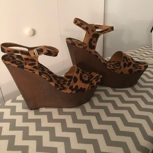 BAMBOO Shoes - Leopard Wedge Heels
